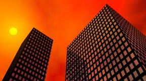 Puesta del sol y edificios ilustración del vector