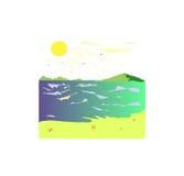 Puesta del sol y el mar Imágenes de archivo libres de regalías