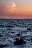 Puesta del sol y mar Foto de archivo libre de regalías