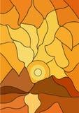 Puesta del sol y montañas del mosaico Imagen de archivo libre de regalías
