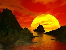 Puesta del sol y Moutain Foto de archivo