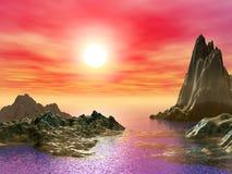 Puesta del sol y Moutain foto de archivo libre de regalías