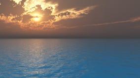 Puesta del sol y nubes del océano libre illustration