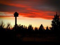 Puesta del sol y pajarera Foto de archivo libre de regalías