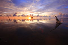 Puesta del sol y reflexión de la belleza Fotografía de archivo