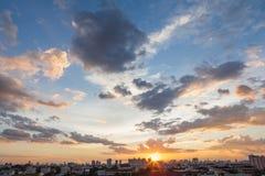 Puesta del sol y salida del sol Fotografía de archivo