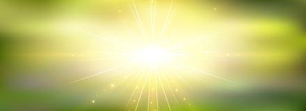 Puesta del sol y salida del sol de la opinión de la naturaleza del panorama en verano de la primavera Imagenes de archivo