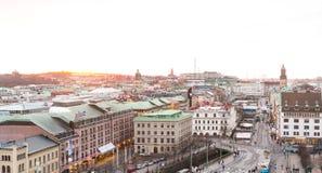 Puesta del sol y vista de Goteburgo céntrico Fotografía de archivo