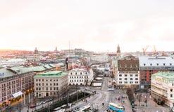 Puesta del sol y vista de Goteburgo céntrico Imágenes de archivo libres de regalías