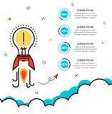 Puesta en marcha del negocio infographic con la plantilla del cohete de la idea para el ciclo Foto de archivo