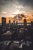 Puestas del sol de estallido Fotos de archivo libres de regalías