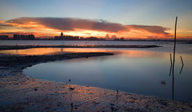 Puestas del sol de la ciudad Fotografía de archivo libre de regalías