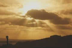 Puestas del sol en casa rural Fotografía de archivo libre de regalías