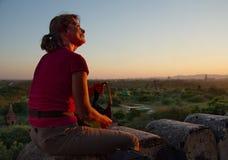 Puestas del sol en el reino de Bagan imagen de archivo libre de regalías