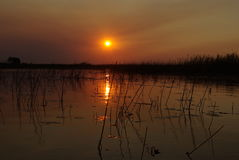 Puestas del sol hermosas Imágenes de archivo libres de regalías