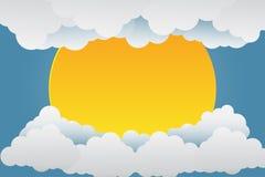 Puestas del sol hermosas sobre las nubes Arte de papel Ilustración del vector stock de ilustración