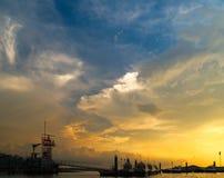 Puesto avanzado del guardacostas en la puesta del sol Fotografía de archivo