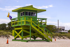 Puesto avanzado del reloj de la bahía de Miami Beach Imagenes de archivo