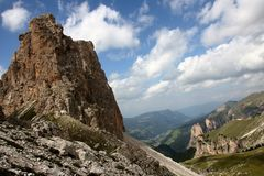 Dolomite`s landscape - Puez odle natural park Royalty Free Stock Photo