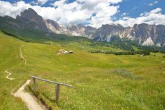 Puez Odle mountain range viewed from a hiking path leading to Mount Pic above Raiser Pass, Val Gardena stock image