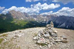 Puez Odle mountain range viewed from Mount Pic above Raiser Pass, Val Gardena stock photo