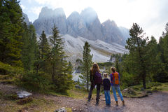 Puez odle nature park. Family - mother and daughter hiking at the puez odle nature park. Val Gardena to AltaBadia. Italy Stock Photo