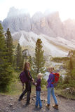 Puez odle nature park. Happy family - mother and daughter hiking at the puez odle nature park. Val Gardena to AltaBadia. Italy Royalty Free Stock Photography