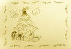 Puff Angels by the Christmas Tree Royalty Free Stock Photos