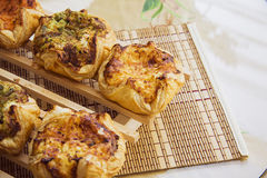 Puff buns with cheese and various herbs Royalty Free Stock Photo