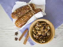 Puff buns and walnuts Stock Photography