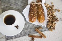 Puff buns and walnuts Stock Photo
