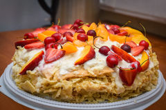 Puff cake with fruit royalty free stock photo