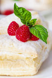 Puff cake with raspberries. On a white plate Royalty Free Stock Images