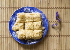 Puff cakes on blue dish, napoleon cakes, top view Stock Image