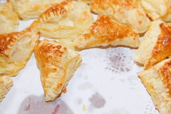 Puff cookies apple turnovers food background Royalty Free Stock Photos