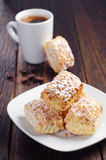 Puff cookies with nuts and coffee Royalty Free Stock Photos