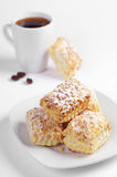 Puff cookies with nuts and coffee Royalty Free Stock Photography