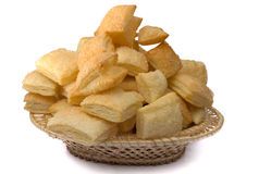 Puff cookies in a wum basket. Isolated on a white background Stock Images