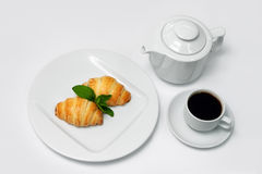 Puff Desserts with Espresso Cup and Coffee Pot Royalty Free Stock Photography