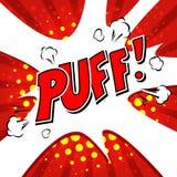 Puff! Komisk anförandebubbla, tecknad film Arkivbild