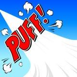 Puff! Komisk anförandebubbla, tecknad film Arkivfoto