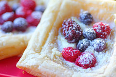 Puff pastries with fresh berries Stock Photos