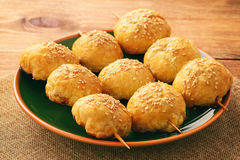 Puff pastries with meat samosa - traditional uzbek and indian pasrty. Royalty Free Stock Images