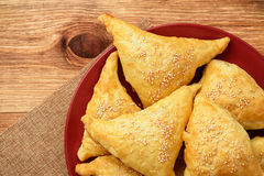 Puff pastries with meat samosa - traditional uzbek and indian pasrty. Stock Images