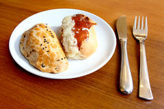Puff pastries - Pogaca. Puff pastries with cheese and mince Royalty Free Stock Photography