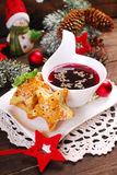 Puff pastries and red borscht for christmas eve stock image