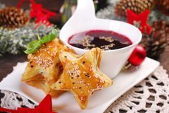 Puff pastries and red borscht for christmas eve Stock Photos