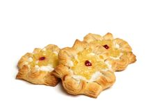 Puff pastry. Isolated on white Royalty Free Stock Photography