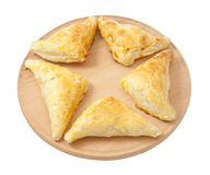 Puff Pastry. Triangles Isolated on White Background stock photos
