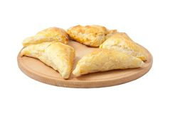Puff Pastry. Triangles Isolated on White Background stock images